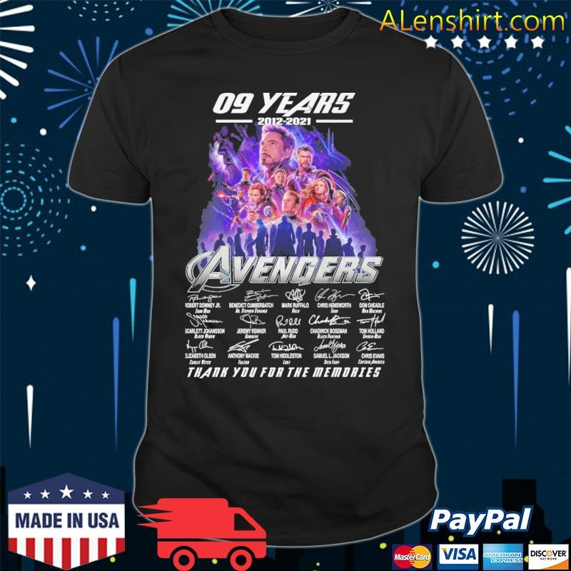09 years 2012 2021 The Avengers thank you for the memories signatures shirt