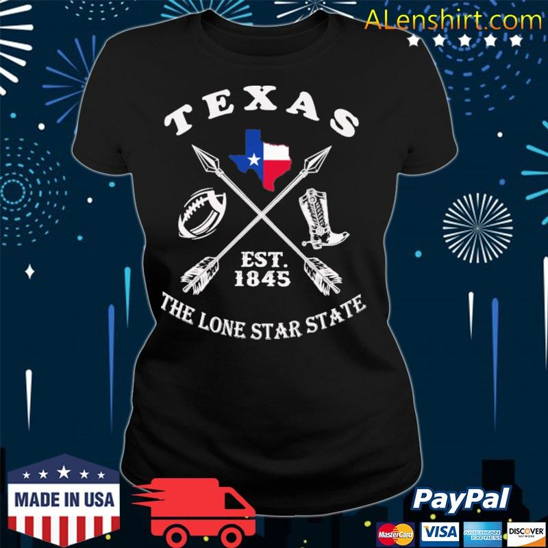 Texas the lone star state est 1845 s v-neck