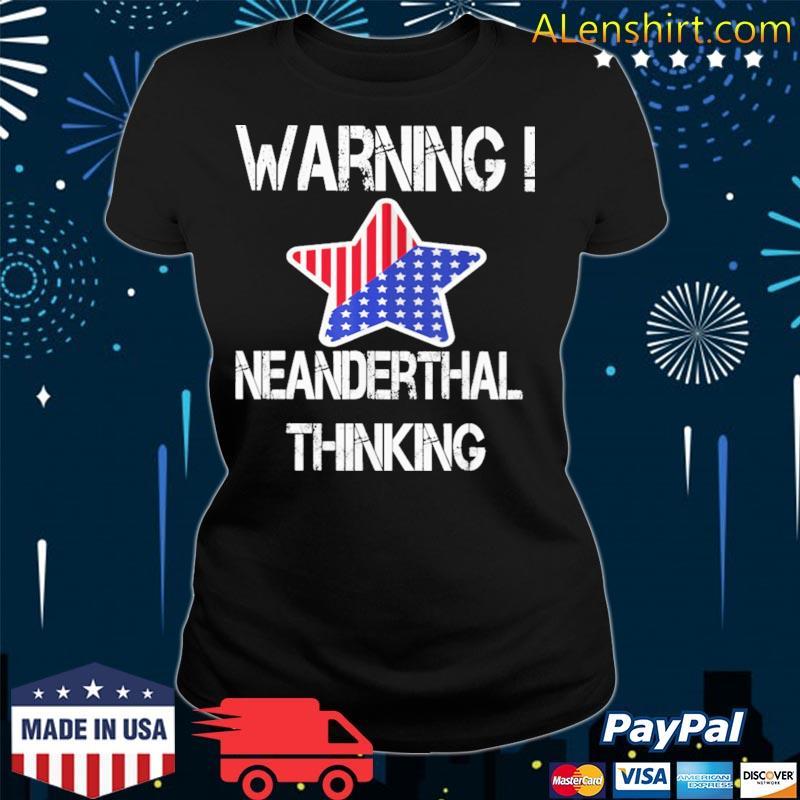 Warning Neanderthal thinking American flag s v-neck