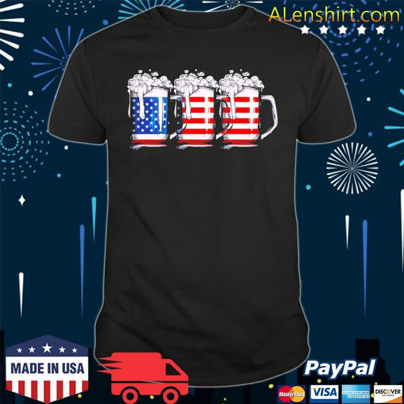 4th of july for men beer American flag women drinking shirt