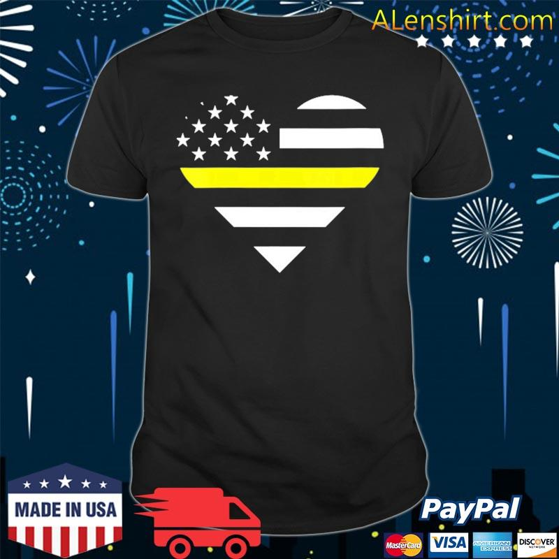 911 dispatcher heart usa flag thin line 911 dispatch gifts shirt