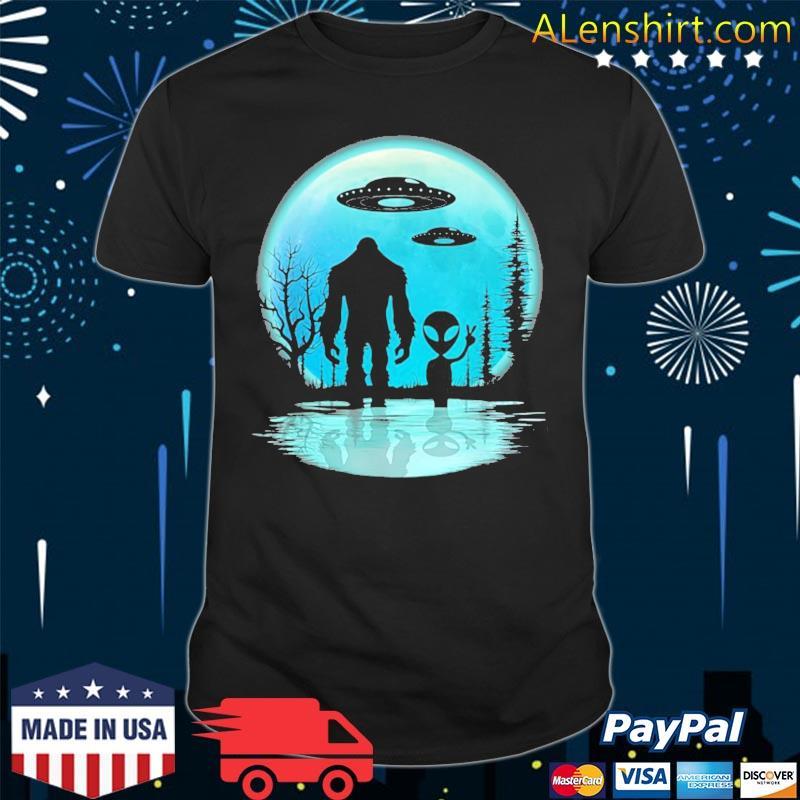 Alien and bigfoot moon shirt