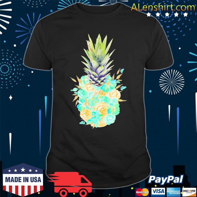 Aloha hawaiI cute pineapple tropical flowers hawaiian shirt