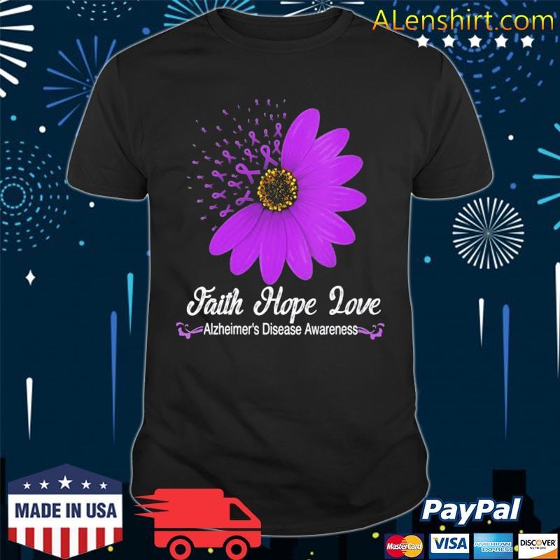 Alzheimer's disease awareness faith hope love purple ribbon shirt
