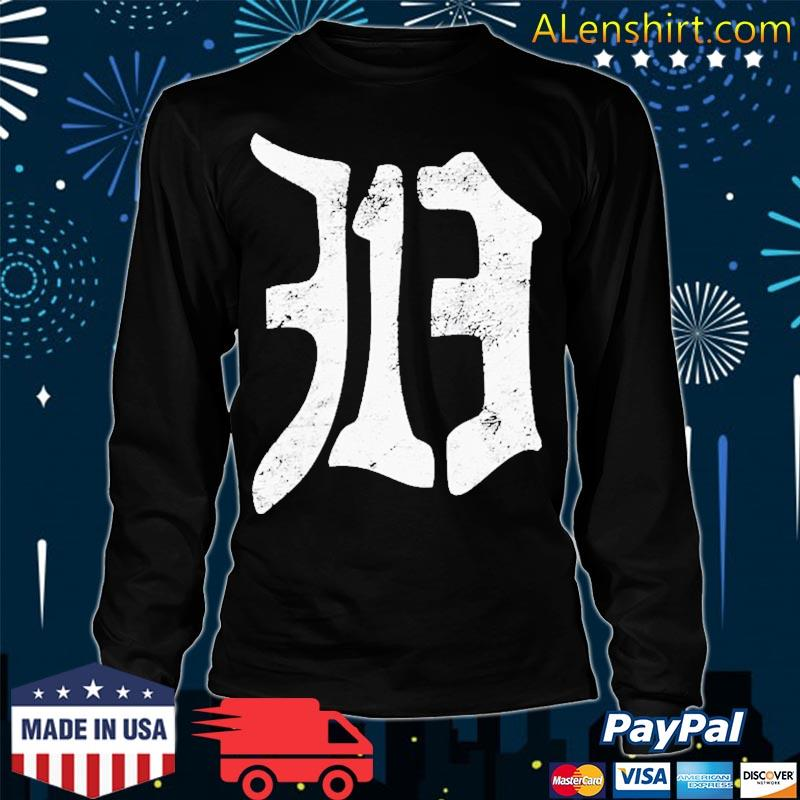 Detroit 313 Vintage Old English D Area Code Shirt Long Sleeve
