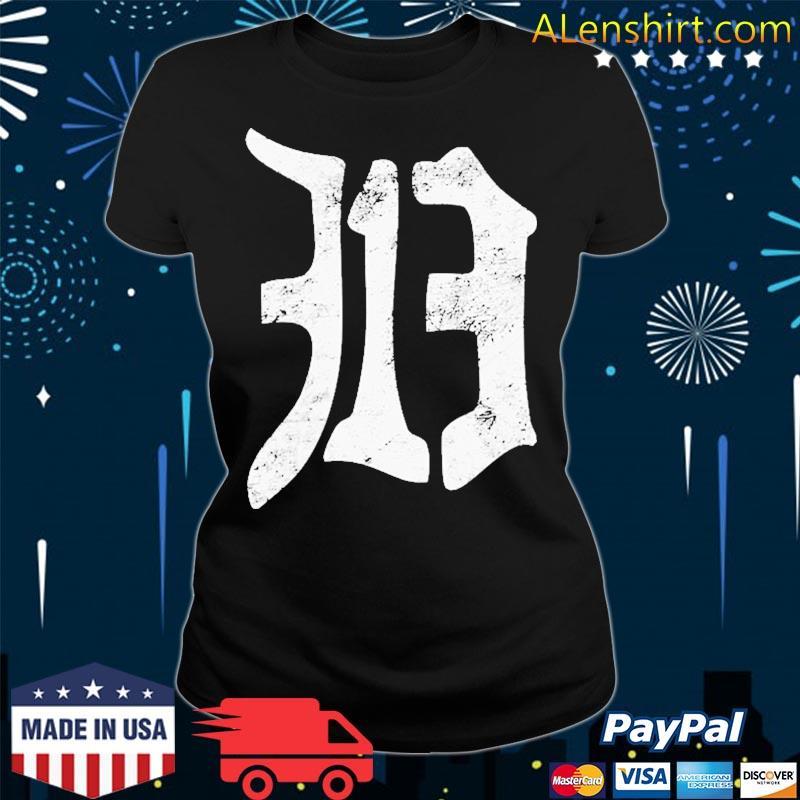 Detroit 313 Vintage Old English D Area Code Shirt v-neck