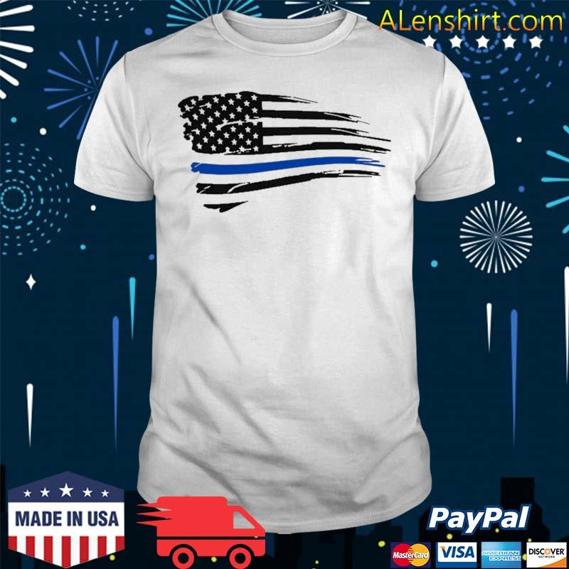 Law Enforcement Police Support Blue Lives Line American Flag Shirt