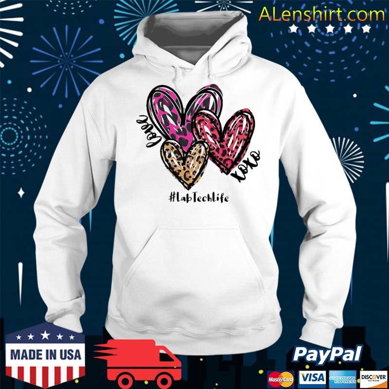 Love Lab Tech Life Heart Leopard Costume Valentine's Day Shirt Hoodie