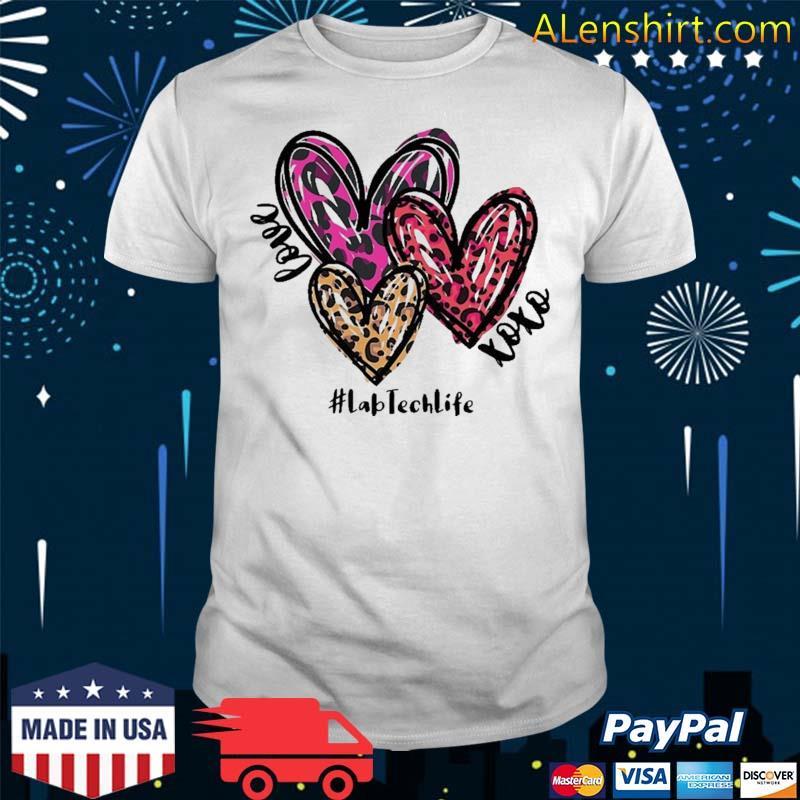 Love Lab Tech Life Heart Leopard Costume Valentine's Day Shirt