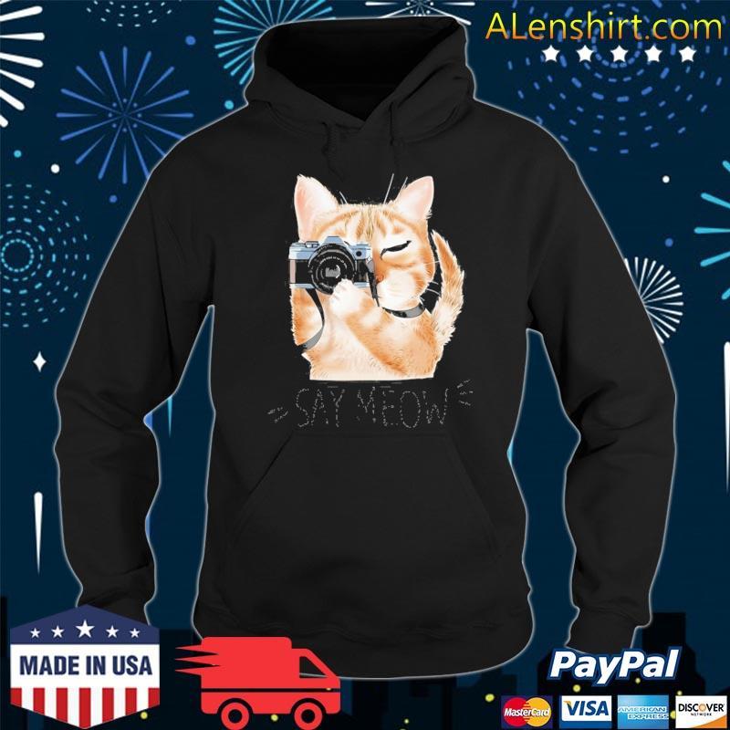 Meow With Cartoon Cute Cat Holding Camera Animal Cat Shirt Hoodie