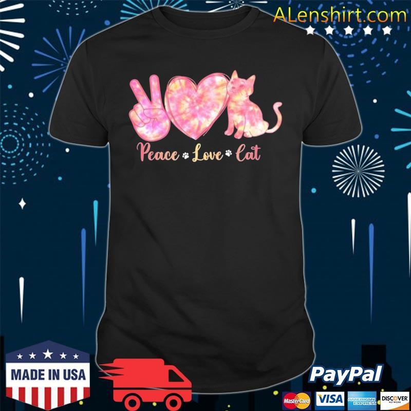 Peace Love Cat Tie Dye Heart Peace Sign Cat Lover Cat Paw Shirt