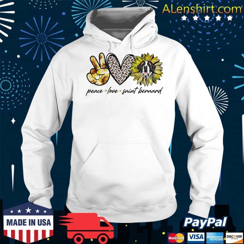 Peace Love Saint Bernard Dog Sunflower Gifts Shirt Hoodie