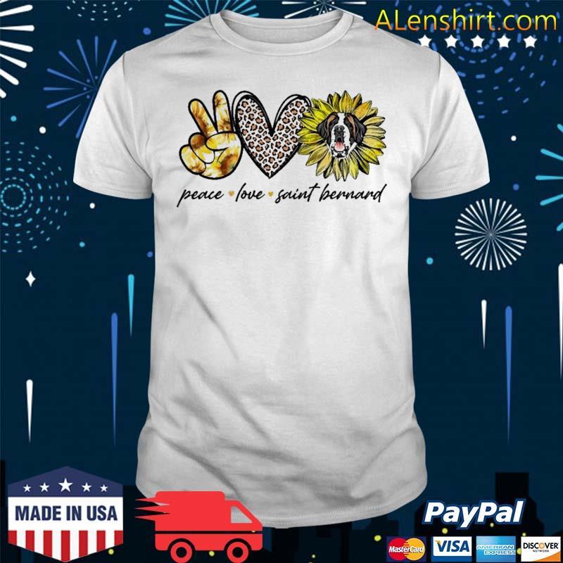 Peace Love Saint Bernard Dog Sunflower Gifts Shirt