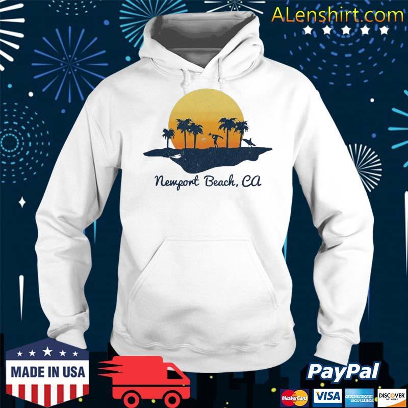 Retro Newport Beach California Beach Sunset Design Shirt Hoodie