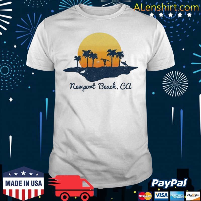 Retro Newport Beach California Beach Sunset Design Shirt