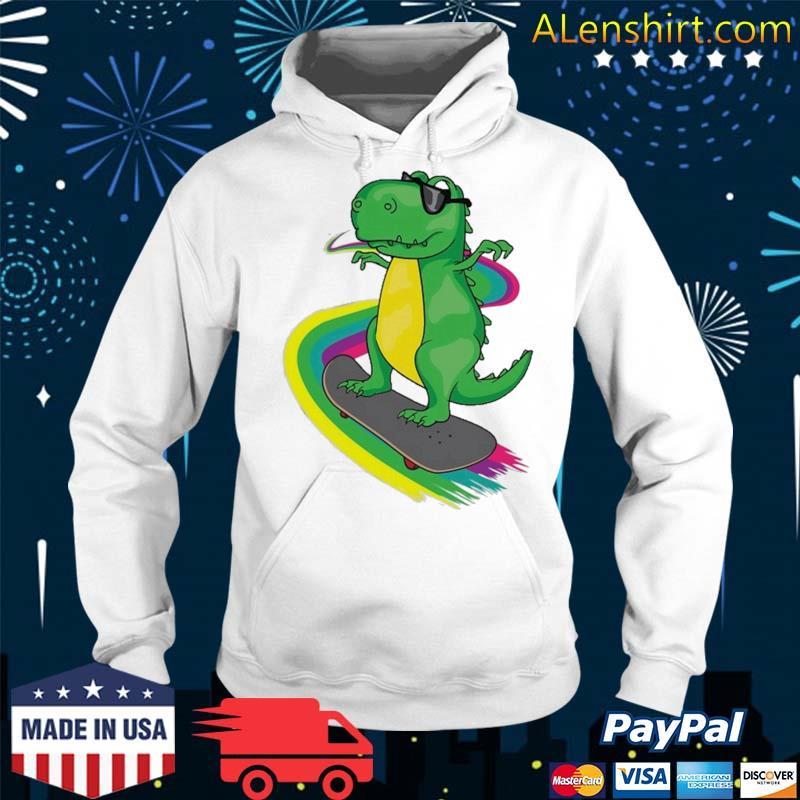T-Rex Skateboarding Shirt Cute Skating Dinosaur Tee Gift Shirt Hoodie