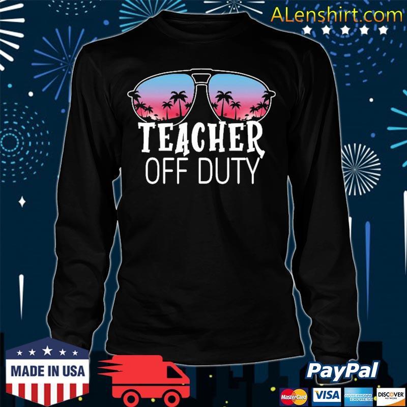 Teacher Off Duty Sunglasses Beach Sunset Vintage Retro Shirt Long Sleeve