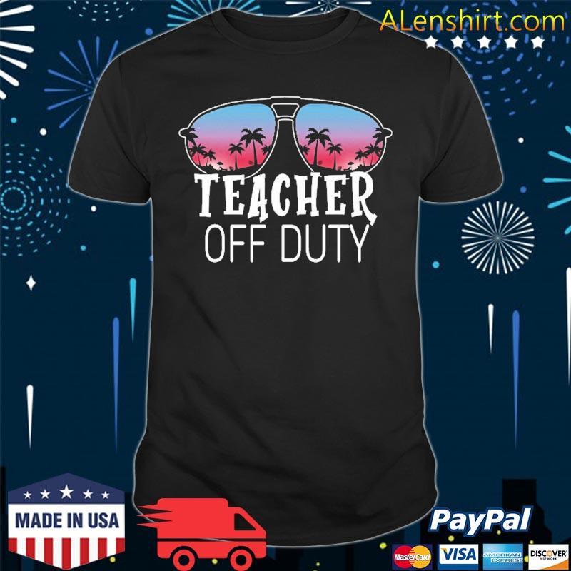 Teacher Off Duty Sunglasses Beach Sunset Vintage Retro Shirt