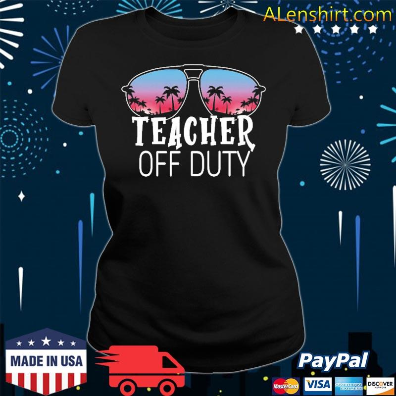 Teacher Off Duty Sunglasses Beach Sunset Vintage Retro Shirt v-neck