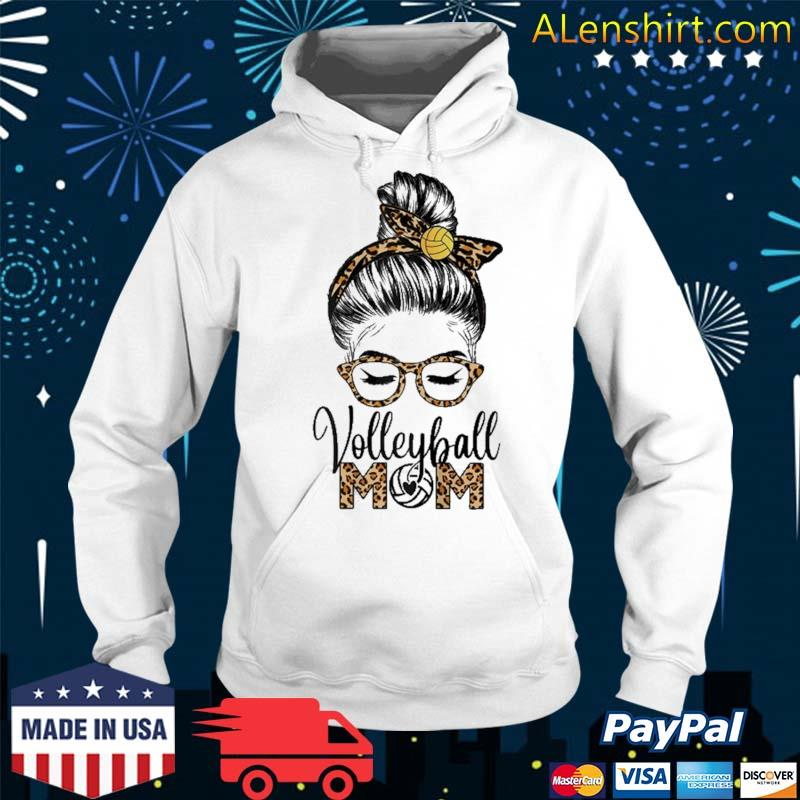 Volleyball Mom Life Messy Hair Bun Leopard Mother's Day Shirt Hoodie