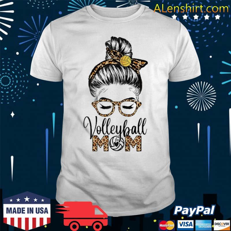 Volleyball Mom Life Messy Hair Bun Leopard Mother's Day Shirt