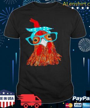 Chicken with bandana headband and glasses shirt