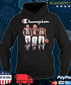 Cleveland Browns Champion Mayfield Chubb signatures s Hoodie